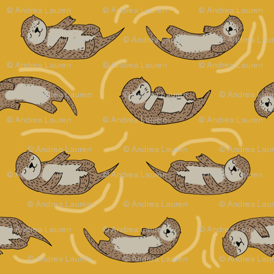 otter fabric // cute otters design animals fabric nursery baby andrea lauren - mustard