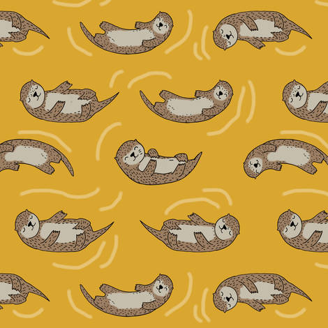 otter fabric // cute otters design animals fabric nursery baby andrea lauren - mustard fabric by andrea_lauren on Spoonflower - custom fabric