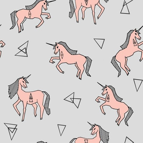unicorn fabric // cute pink and grey unicorns baby nursery design by andrea lauren