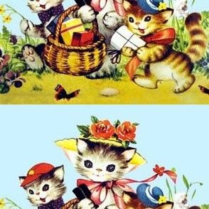 cats kittens children family mother children daughters sons siblings flowers butterfly butterflies baskets picnic gifts presents roses bows pansy  pansies grass egl elegant gothic lolita grass vintage retro kitsch whimsical hats garden