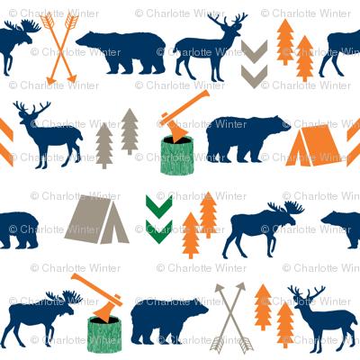camping outdoors fabric hunting hunter baby boy nursery navy green and orange