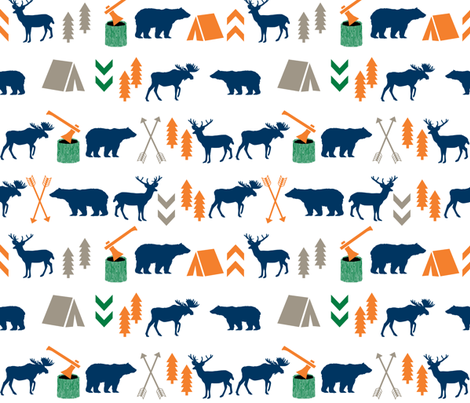 camping outdoors fabric hunting hunter baby boy nursery navy green and orange fabric by charlottewinter on Spoonflower - custom fabric
