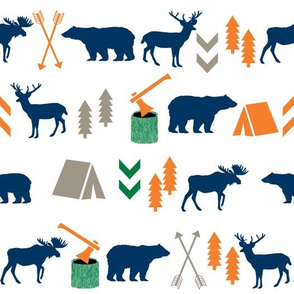 camping outdoors fabric hunting hunter baby boy nursery navy green and orange