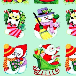 Merry Christmas trees candles baubles angels cats kittens stockings socks mistletoe snowman Santa Claus sleigh gifts presents love candy canes husband wife couple vintage retro kitsch