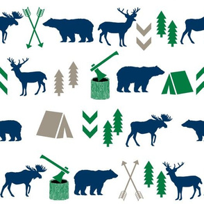 camping outdoors fabric hunting hunter baby boy nursery navy green and brown