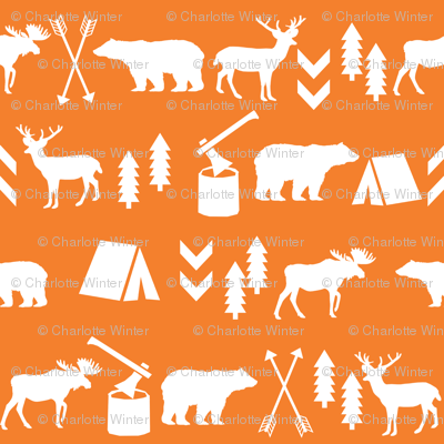 camping outdoors fabric hunting hunter baby boy nursery orange
