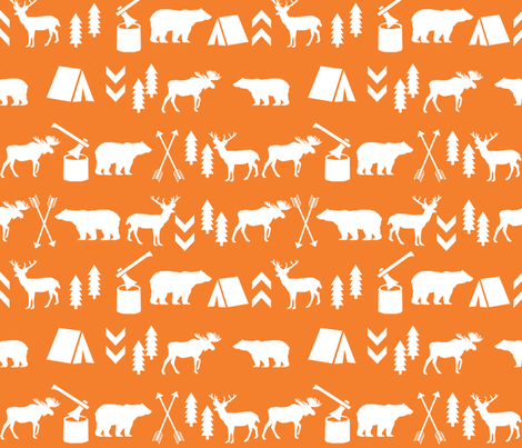 camping outdoors fabric hunting hunter baby boy nursery orange fabric by charlottewinter on Spoonflower - custom fabric