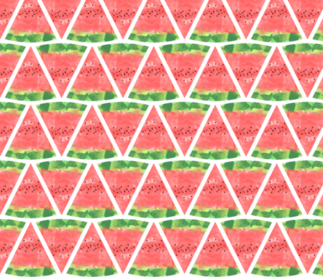 Watermelon Watercolor Pink and Green fabric by infiknit_fabrics on Spoonflower - custom fabric