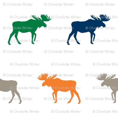 moose fabric baby nursery canada moose hunting hunter woodland orange navy and green