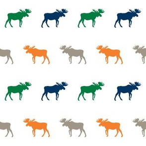 moose fabric baby nursery canada moose hunting hunter woodland orange navy and green