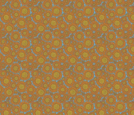 Farmhouse Sunflowers | Blue fabric by caitlinkeegan on Spoonflower - custom fabric
