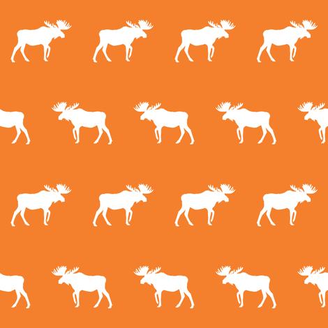 moose fabric baby nursery canada moose hunting hunter woodland orange  fabric by charlottewinter on Spoonflower - custom fabric