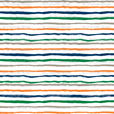 stripes fabric hand painted hand drawn fabric navy green and orange