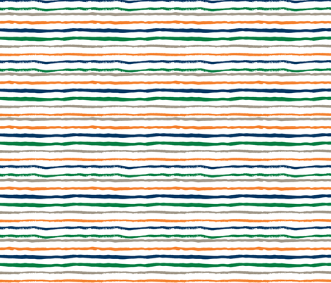 stripes fabric hand painted hand drawn fabric navy green and orange fabric by charlottewinter on Spoonflower - custom fabric