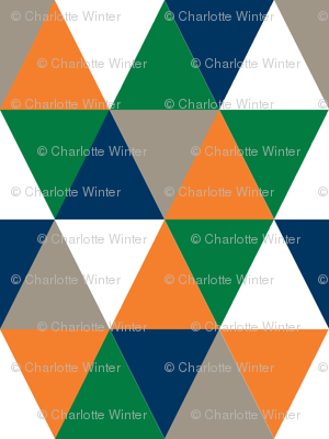 triangle  cheater quilt baby nursery baby boy orange navy and green