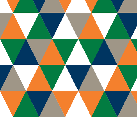 triangle  cheater quilt baby nursery baby boy orange navy and green fabric by charlottewinter on Spoonflower - custom fabric