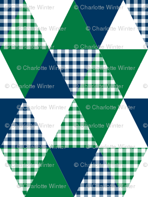 triangle  cheater quilt baby nursery baby boy plaid buffalo plaid navy and green