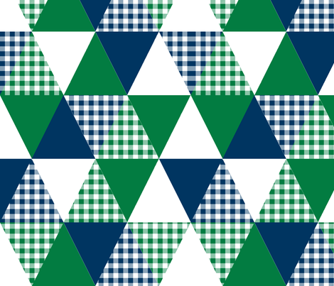 triangle  cheater quilt baby nursery baby boy plaid buffalo plaid navy and green fabric by charlottewinter on Spoonflower - custom fabric