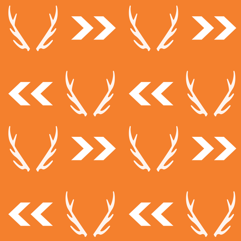 antler fabric orange antlers buck hunting hunter design orange fabric fabric by charlottewinter on Spoonflower - custom fabric