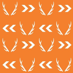 antler fabric orange antlers buck hunting hunter design orange fabric