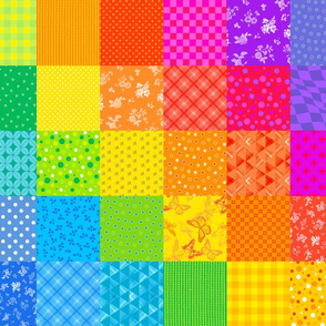 Rainbow Squares Quilt Smaller Scale