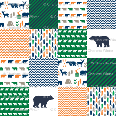 cheater quilt bear baby boy orange navy and green baby fabric nursery woodland hunting camping bears