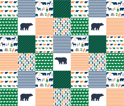 cheater quilt bear baby boy orange navy and green baby fabric nursery woodland hunting camping bears fabric by charlottewinter on Spoonflower - custom fabric