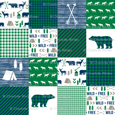 cheater quilt bear baby boy navy and green baby fabric nursery woodland hunting camping bears