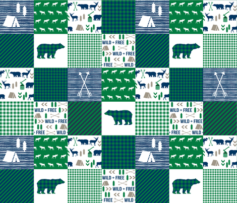 cheater quilt bear baby boy navy and green baby fabric nursery woodland hunting camping bears fabric by charlottewinter on Spoonflower - custom fabric