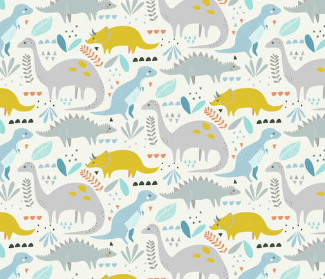 Dinosaur // t-rex // triceratops // stegasauraus fabric by littlefoxhill on Spoonflower - custom fabric