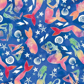 Dreamy watercolor mermaids