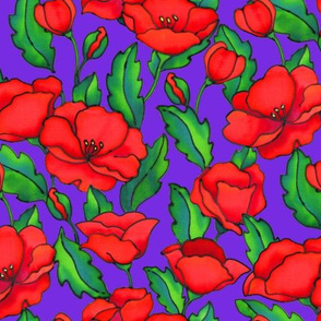Red Poppies on Purple