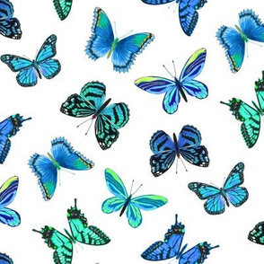 Cool Butterflies in Greens and Blues