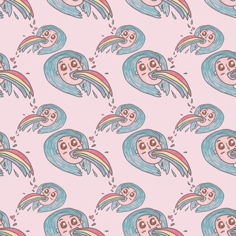 Girl with blue hair puke rainbows fabric by outshop on Spoonflower - custom fabric