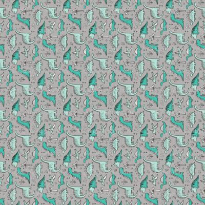 Dinosaurs on Grey Tiny Small Rotated