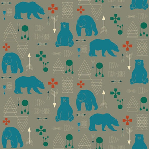 Tribal bear blue and grey