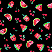 Watermelons and Cherries - Black