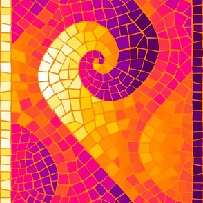 wave mosaic border - bright Indian sunrise