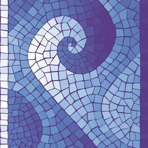 healing waves mosaic border - purple, blue, white