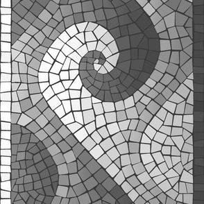 wave mosaic border - greyscale