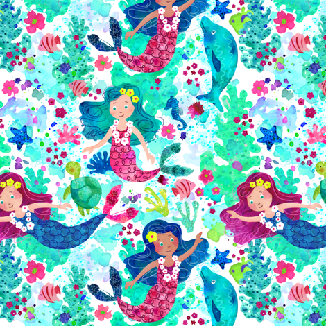 Mermaids in Watercolor fabric by sarah_treu on Spoonflower - custom fabric