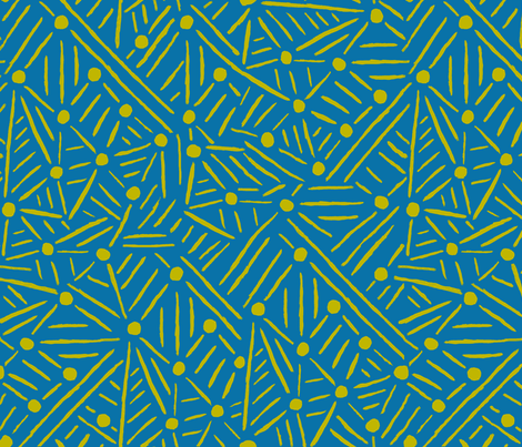 "Lines ""Drawn to"" Circles - Teal & Citron fabric by suz_pozzo on Spoonflower - custom fabric"