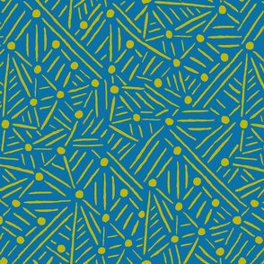 "Lines ""Drawn to"" Circles - Teal & Citron"