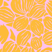 Orange petals on light pink