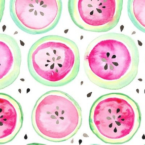 Watermelon Watercolor Spots Dots Hot Pink Green Fruit Summer Picnic_Miss Chiff Designs