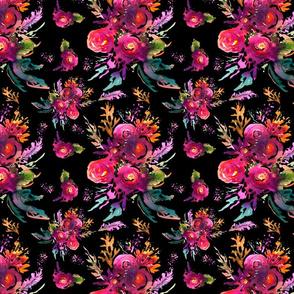 Happy Roses on black