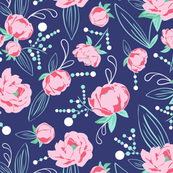 Ella - Peony Floral Blue & Pink