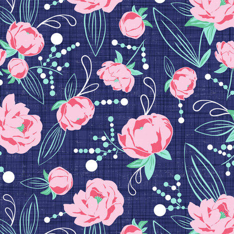 Ella - Peony Floral Blue & Pink fabric by heatherdutton on Spoonflower - custom fabric