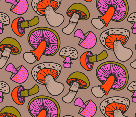 Retro Mushrooms fabric by bashfulbirdie on Spoonflower - custom fabric