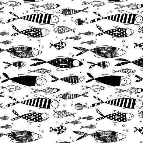 Black & White Fish fabric by laureh on Spoonflower - custom fabric